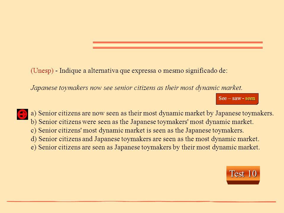 (Unesp) - Indique a alternativa que expressa o mesmo significado de: Japanese toymakers now see senior citizens as their most dynamic market. a) Senio