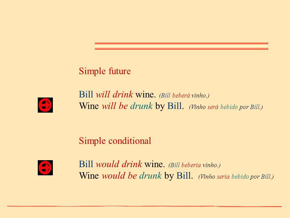 Simple future Bill will drink wine. (Bill beberá vinho.) Wine will be drunk by Bill. (Vinho será bebido por Bill.) Simple conditional Bill would drink