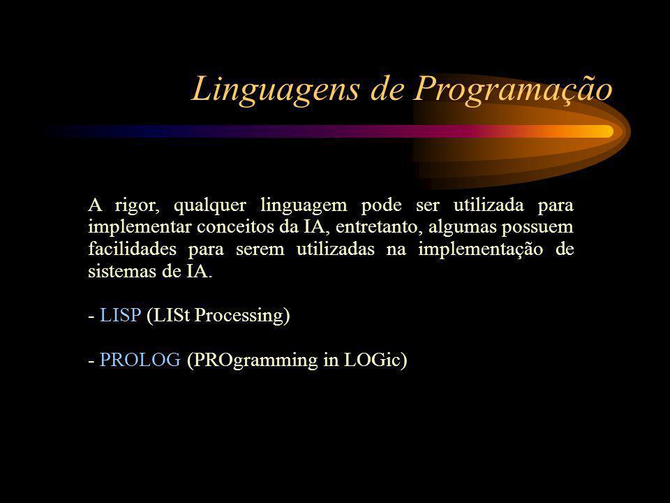 Linguagens de Programação A rigor, qualquer linguagem pode ser utilizada para implementar conceitos da IA, entretanto, algumas possuem facilidades para serem utilizadas na implementação de sistemas de IA.