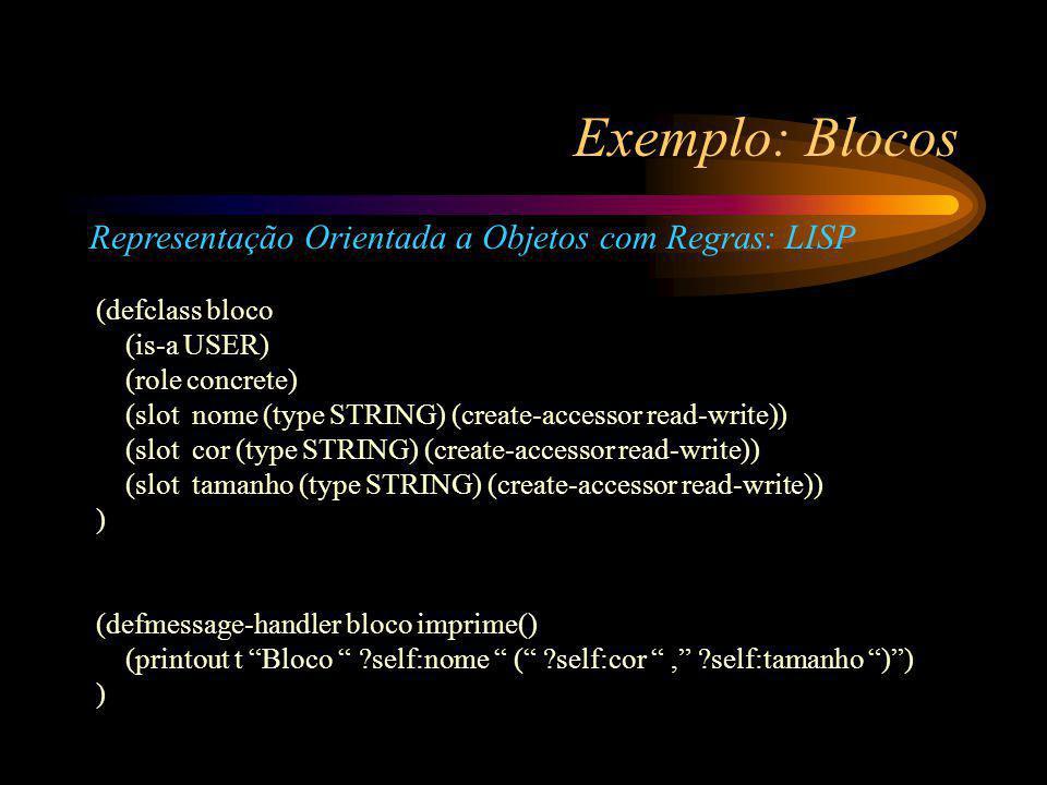 Exemplo: Blocos Representação Orientada a Objetos com Regras: LISP (defclass bloco (is-a USER) (role concrete) (slot nome (type STRING) (create-accessor read-write)) (slot cor (type STRING) (create-accessor read-write)) (slot tamanho (type STRING) (create-accessor read-write)) ) (defmessage-handler bloco imprime() (printout t Bloco ?self:nome ( ?self:cor , ?self:tamanho ) ) )