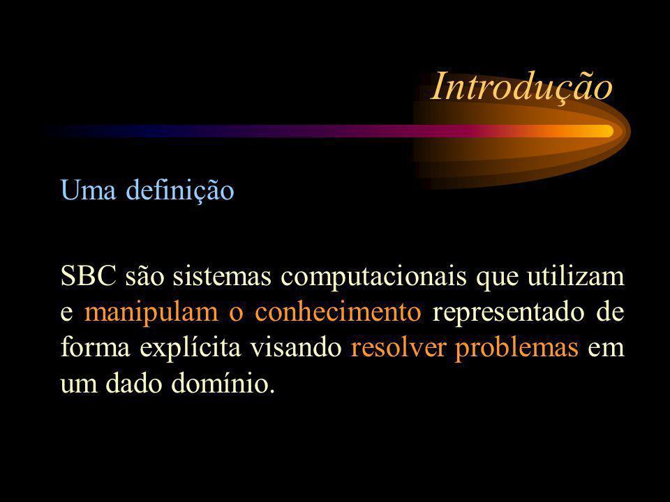 Introdução Uma definição SBC são sistemas computacionais que utilizam e manipulam o conhecimento representado de forma explícita visando resolver problemas em um dado domínio.