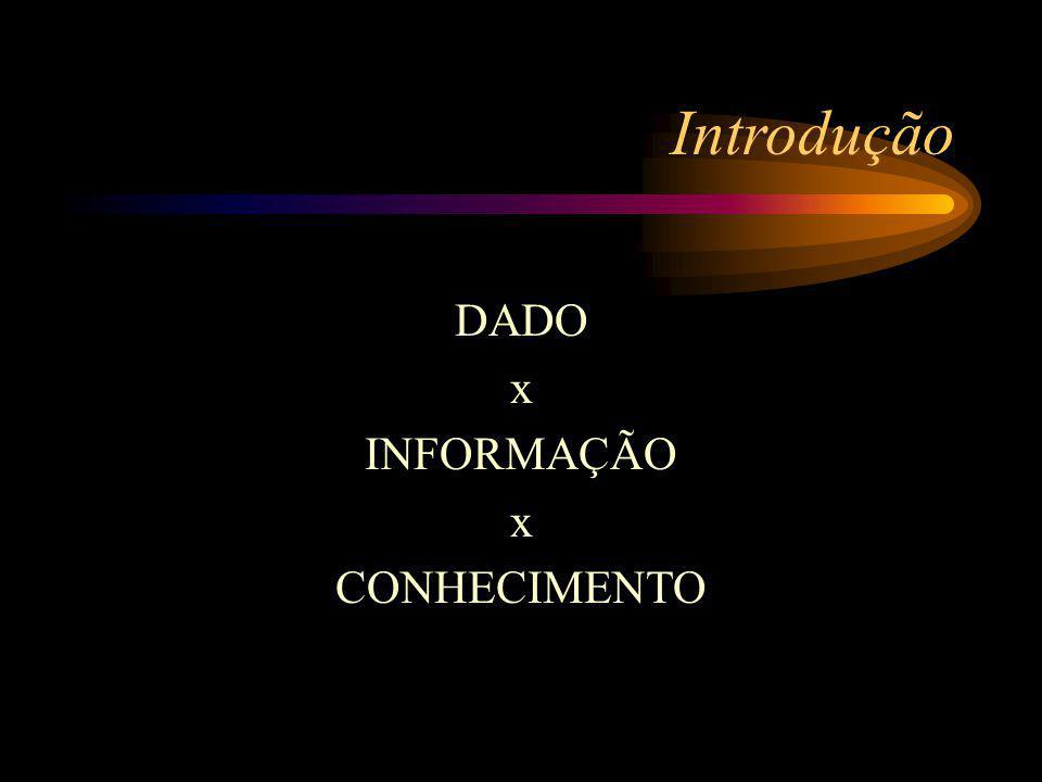 Introdução DADO x INFORMAÇÃO x CONHECIMENTO