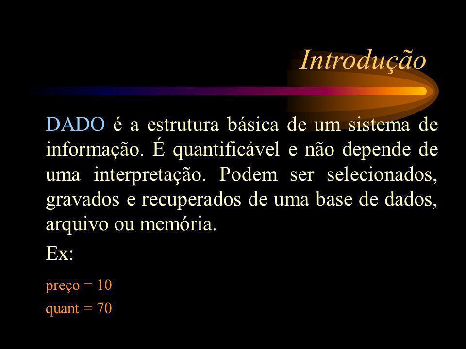 Introdução DADO é a estrutura básica de um sistema de informação.