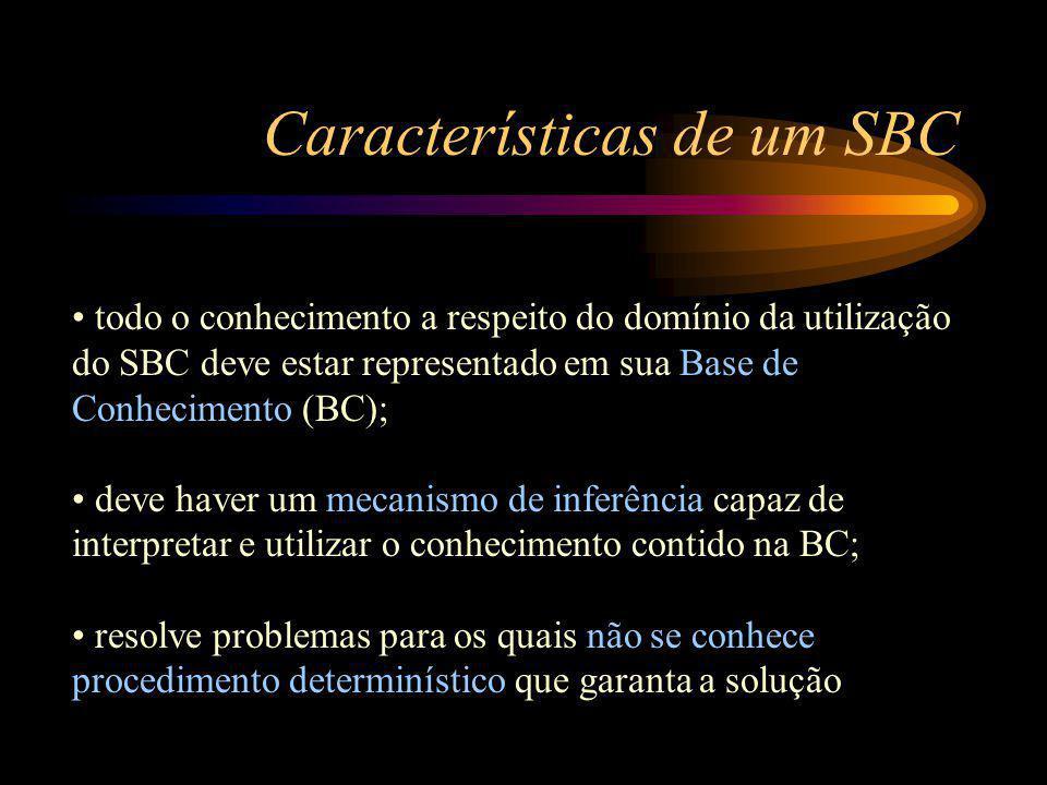 Características de um SBC todo o conhecimento a respeito do domínio da utilização do SBC deve estar representado em sua Base de Conhecimento (BC); deve haver um mecanismo de inferência capaz de interpretar e utilizar o conhecimento contido na BC; resolve problemas para os quais não se conhece procedimento determinístico que garanta a solução