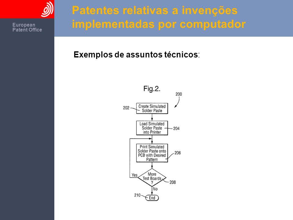 The European Patent Office European Patent Office Patentes relativas a invenções implementadas por computador Exemplos de assuntos técnicos: