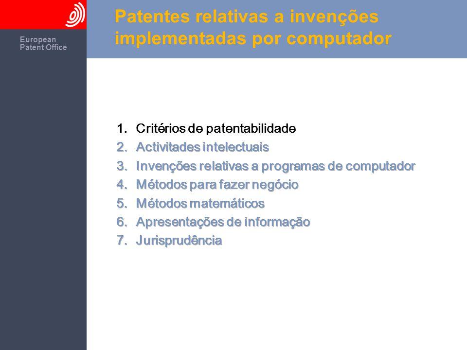 The European Patent Office European Patent Office Patentes relativas a invenções implementadas por computador Artigo 52: Invenções patenteáveis As patentes europeias são concedidas para as invenções.