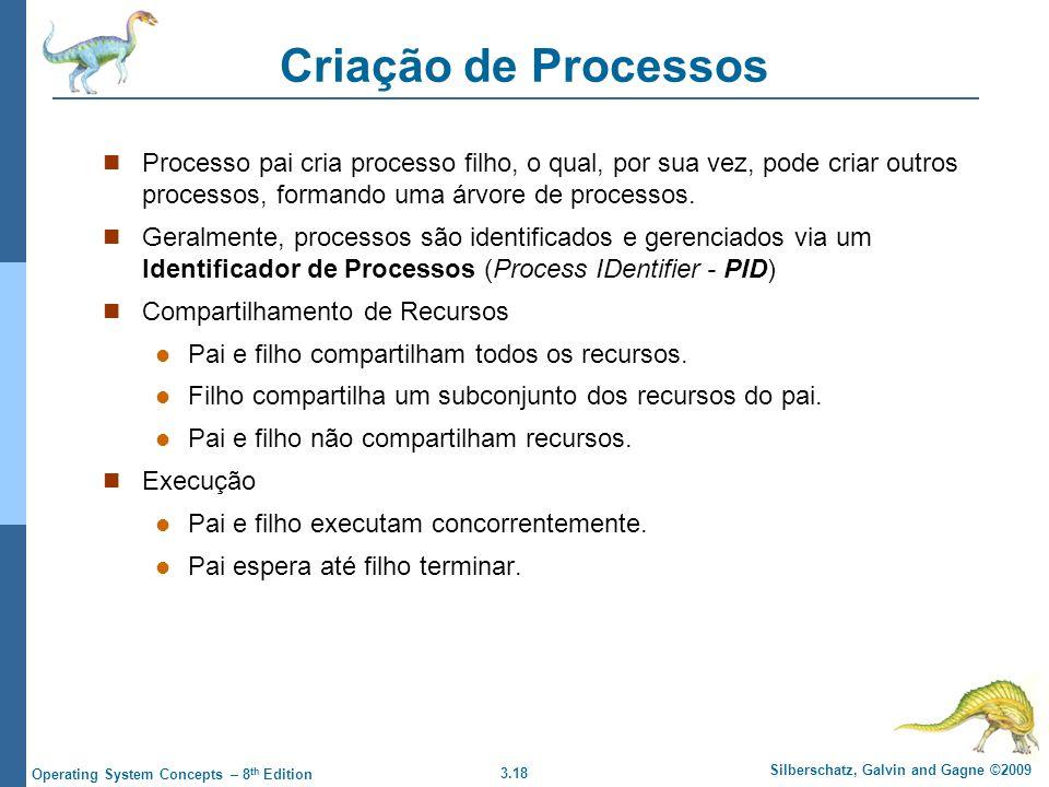 3.18 Silberschatz, Galvin and Gagne ©2009 Operating System Concepts – 8 th Edition Criação de Processos Processo pai cria processo filho, o qual, por sua vez, pode criar outros processos, formando uma árvore de processos.