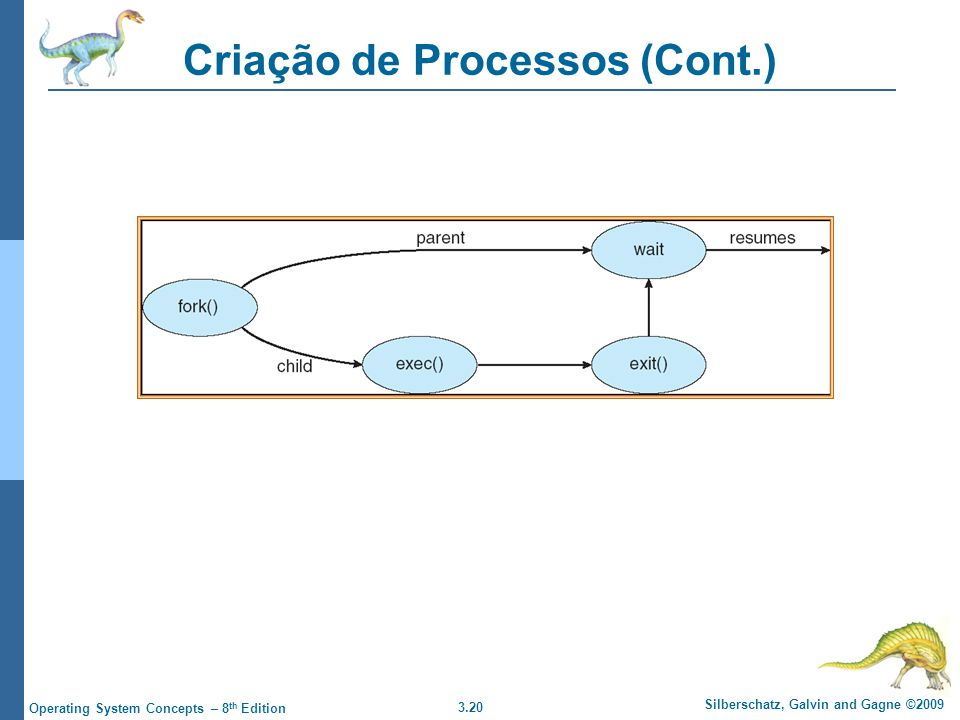 3.20 Silberschatz, Galvin and Gagne ©2009 Operating System Concepts – 8 th Edition Criação de Processos (Cont.)