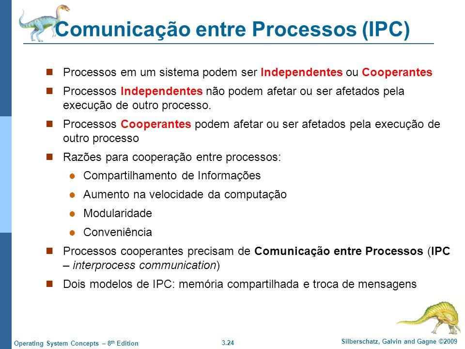 3.24 Silberschatz, Galvin and Gagne ©2009 Operating System Concepts – 8 th Edition Comunicação entre Processos (IPC) Processos em um sistema podem ser Independentes ou Cooperantes Processos Independentes não podem afetar ou ser afetados pela execução de outro processo.