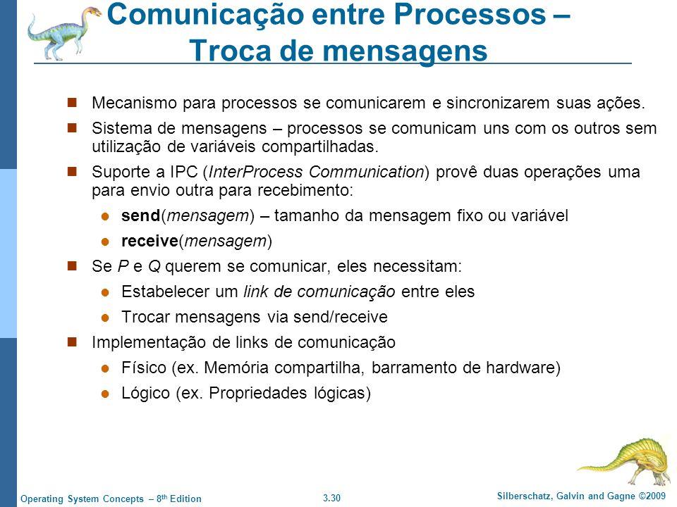 3.30 Silberschatz, Galvin and Gagne ©2009 Operating System Concepts – 8 th Edition Comunicação entre Processos – Troca de mensagens Mecanismo para processos se comunicarem e sincronizarem suas ações.