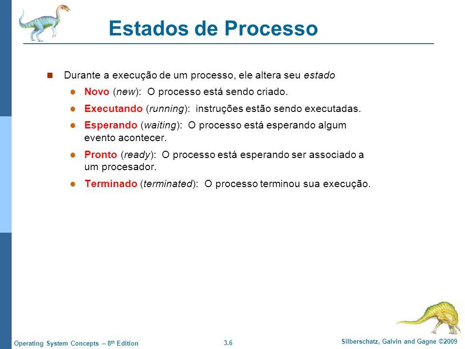 3.6 Silberschatz, Galvin and Gagne ©2009 Operating System Concepts – 8 th Edition Estados de Processo Durante a execução de um processo, ele altera seu estado Novo (new): O processo está sendo criado.