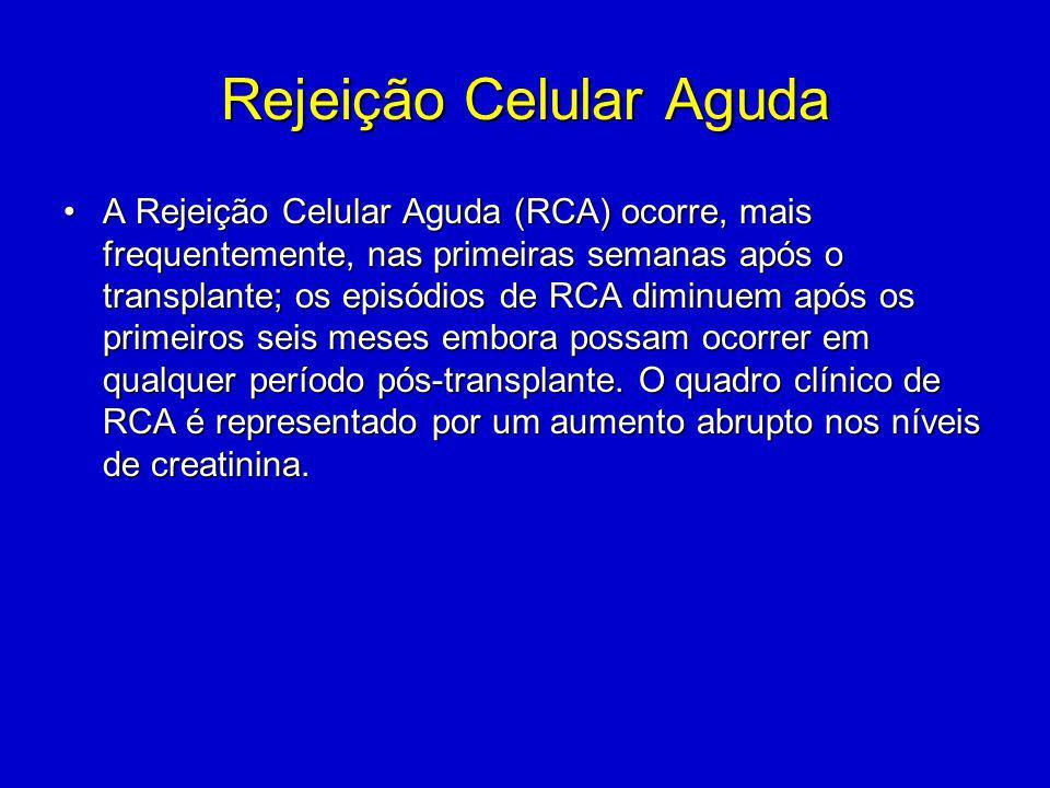 Rejeição Celular Aguda A Rejeição Celular Aguda (RCA) ocorre, mais frequentemente, nas primeiras semanas após o transplante; os episódios de RCA diminuem após os primeiros seis meses embora possam ocorrer em qualquer período pós-transplante.