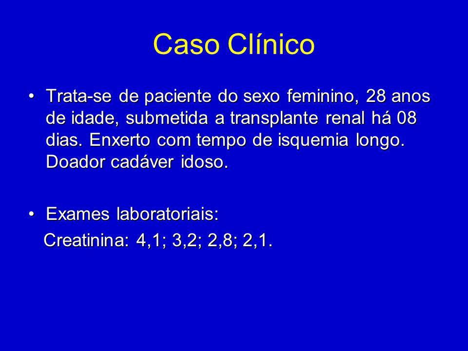 Caso Clínico Trata-se de paciente do sexo feminino, 28 anos de idade, submetida a transplante renal há 08 dias.