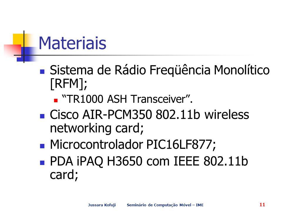 Jussara Kofuji Seminário de Computação Móvel – IME 11 Materiais Sistema de Rádio Freqüência Monolítico [RFM]; TR1000 ASH Transceiver .