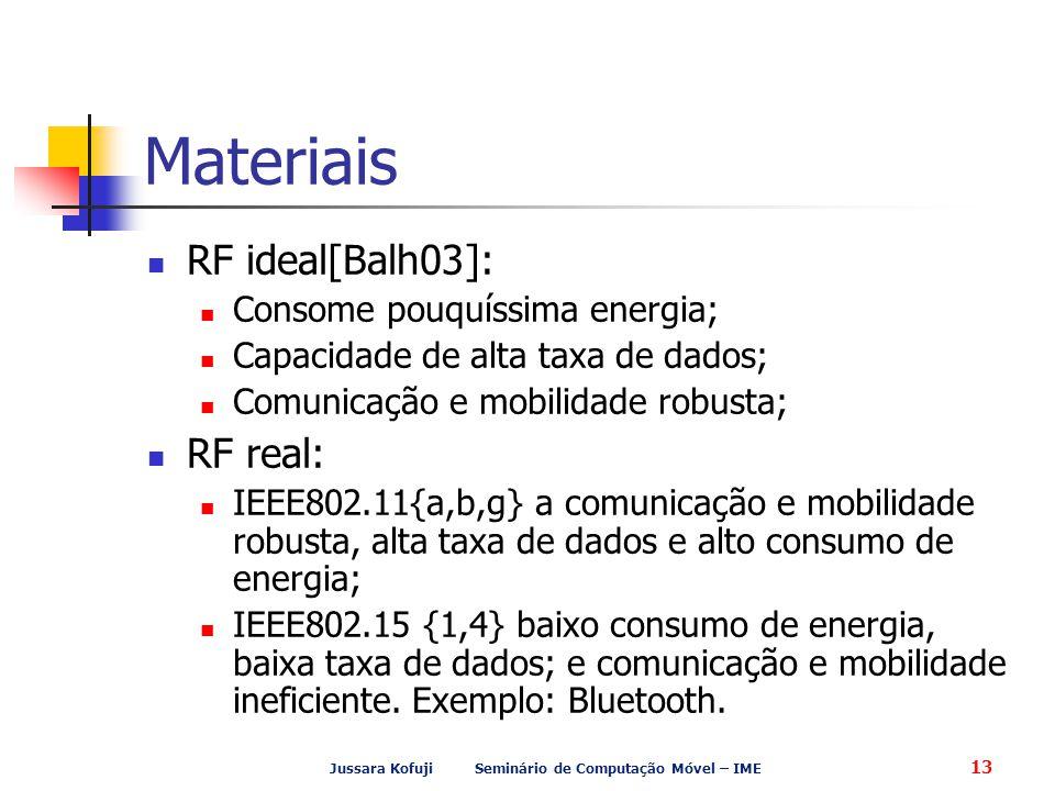 Jussara Kofuji Seminário de Computação Móvel – IME 13 Materiais RF ideal[Balh03]: Consome pouquíssima energia; Capacidade de alta taxa de dados; Comunicação e mobilidade robusta; RF real: IEEE802.11{a,b,g} a comunicação e mobilidade robusta, alta taxa de dados e alto consumo de energia; IEEE802.15 {1,4} baixo consumo de energia, baixa taxa de dados; e comunicação e mobilidade ineficiente.