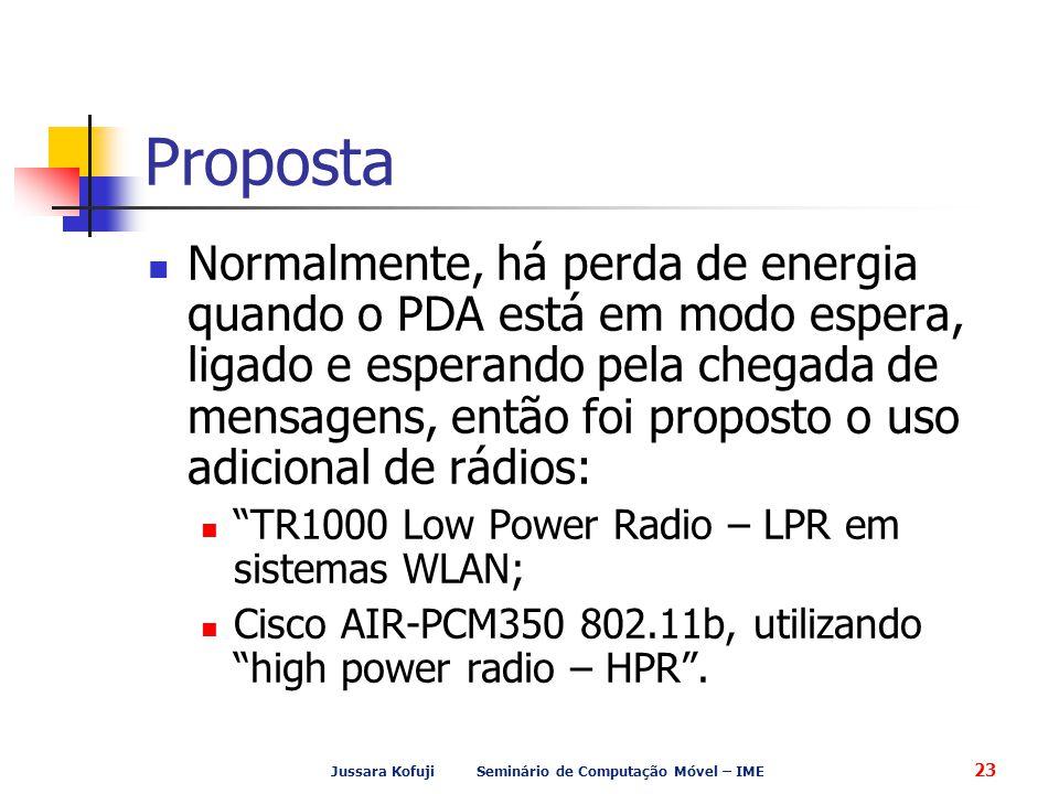Jussara Kofuji Seminário de Computação Móvel – IME 23 Proposta Normalmente, há perda de energia quando o PDA está em modo espera, ligado e esperando pela chegada de mensagens, então foi proposto o uso adicional de rádios: TR1000 Low Power Radio – LPR em sistemas WLAN; Cisco AIR-PCM350 802.11b, utilizando high power radio – HPR .