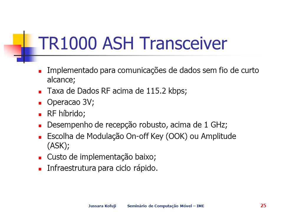 Jussara Kofuji Seminário de Computação Móvel – IME 25 TR1000 ASH Transceiver Implementado para comunicações de dados sem fio de curto alcance; Taxa de Dados RF acima de 115.2 kbps; Operacao 3V; RF híbrido; Desempenho de recepção robusto, acima de 1 GHz; Escolha de Modulação On-off Key (OOK) ou Amplitude (ASK); Custo de implementação baixo; Infraestrutura para ciclo rápido.