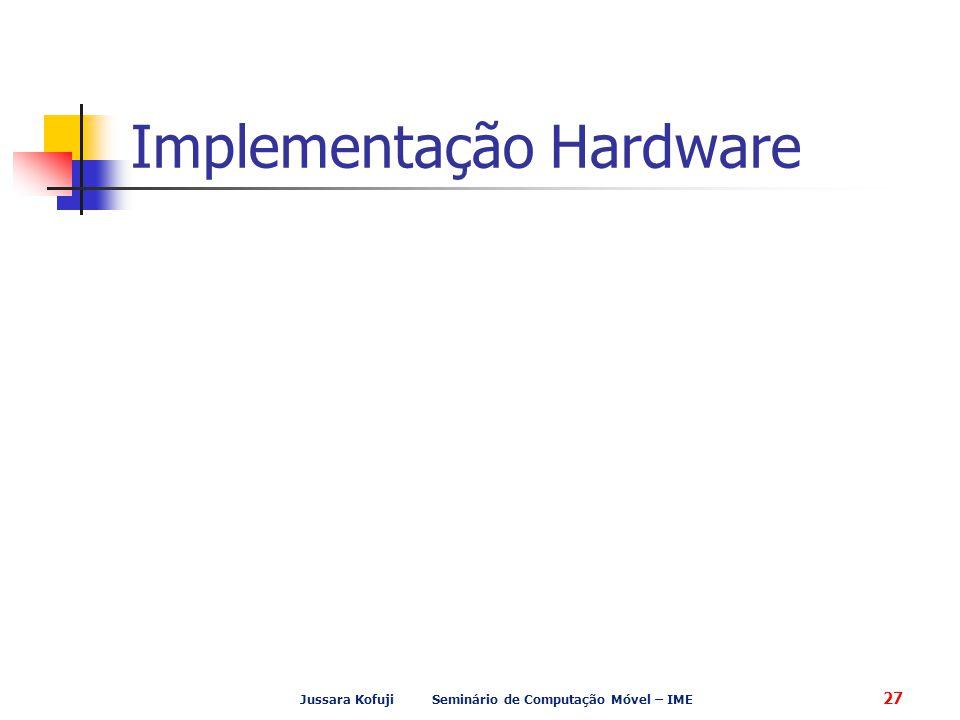 Jussara Kofuji Seminário de Computação Móvel – IME 27 Implementação Hardware