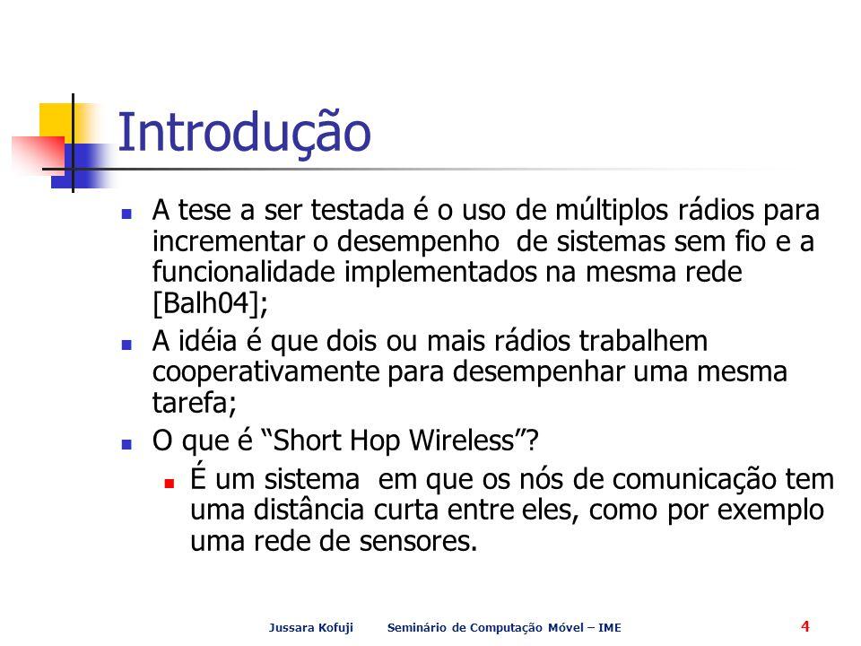 Jussara Kofuji Seminário de Computação Móvel – IME 4 Introdução A tese a ser testada é o uso de múltiplos rádios para incrementar o desempenho de sist