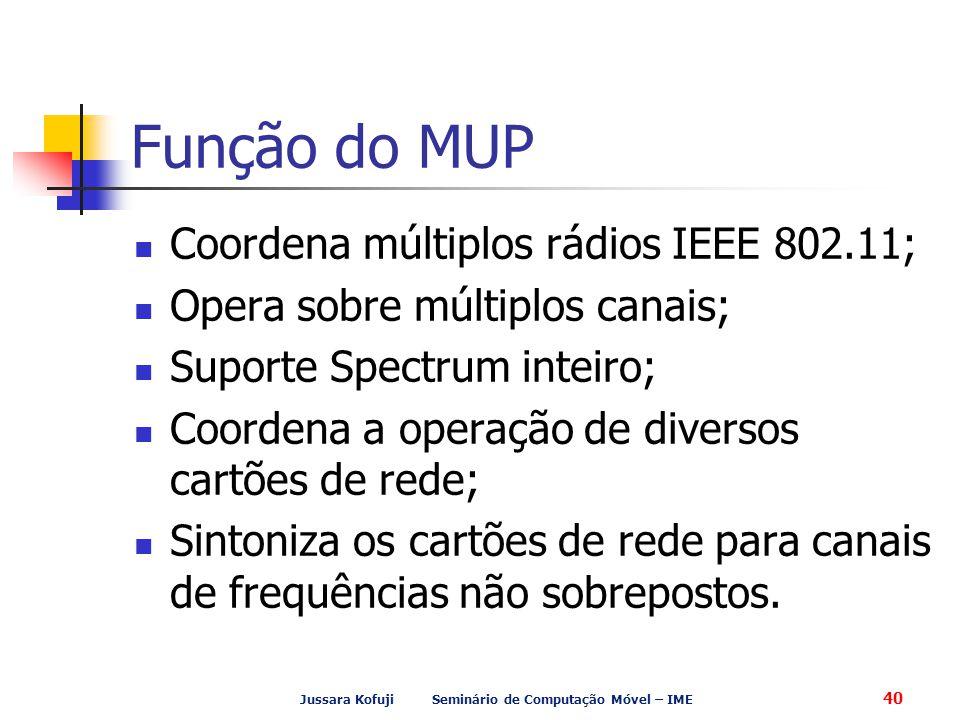 Jussara Kofuji Seminário de Computação Móvel – IME 40 Função do MUP Coordena múltiplos rádios IEEE 802.11; Opera sobre múltiplos canais; Suporte Spectrum inteiro; Coordena a operação de diversos cartões de rede; Sintoniza os cartões de rede para canais de frequências não sobrepostos.