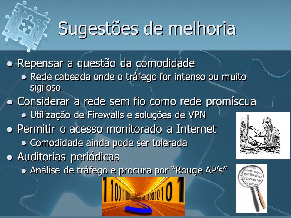 Sugestões de melhoria Repensar a questão da comodidade Rede cabeada onde o tráfego for intenso ou muito sigiloso Considerar a rede sem fio como rede p