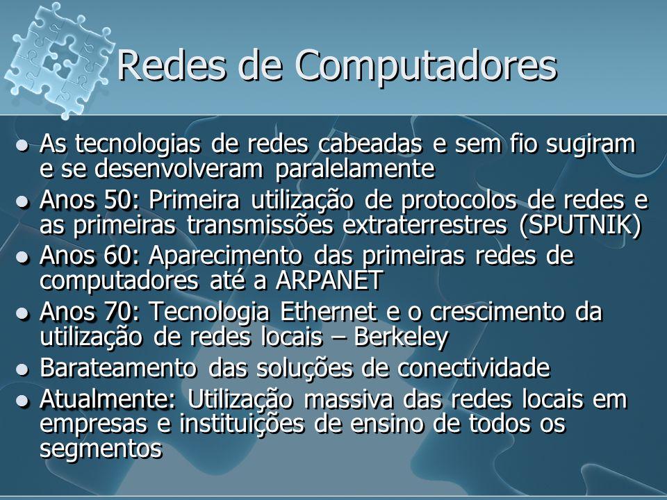 Redes de Computadores As tecnologias de redes cabeadas e sem fio sugiram e se desenvolveram paralelamente Anos 50 Anos 50: Primeira utilização de prot