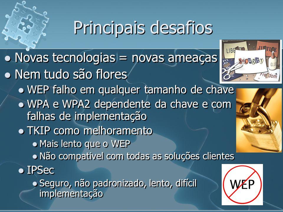 Principais desafios Novas tecnologias = novas ameaças Nem tudo são flores WEP falho em qualquer tamanho de chave WPA e WPA2 dependente da chave e com