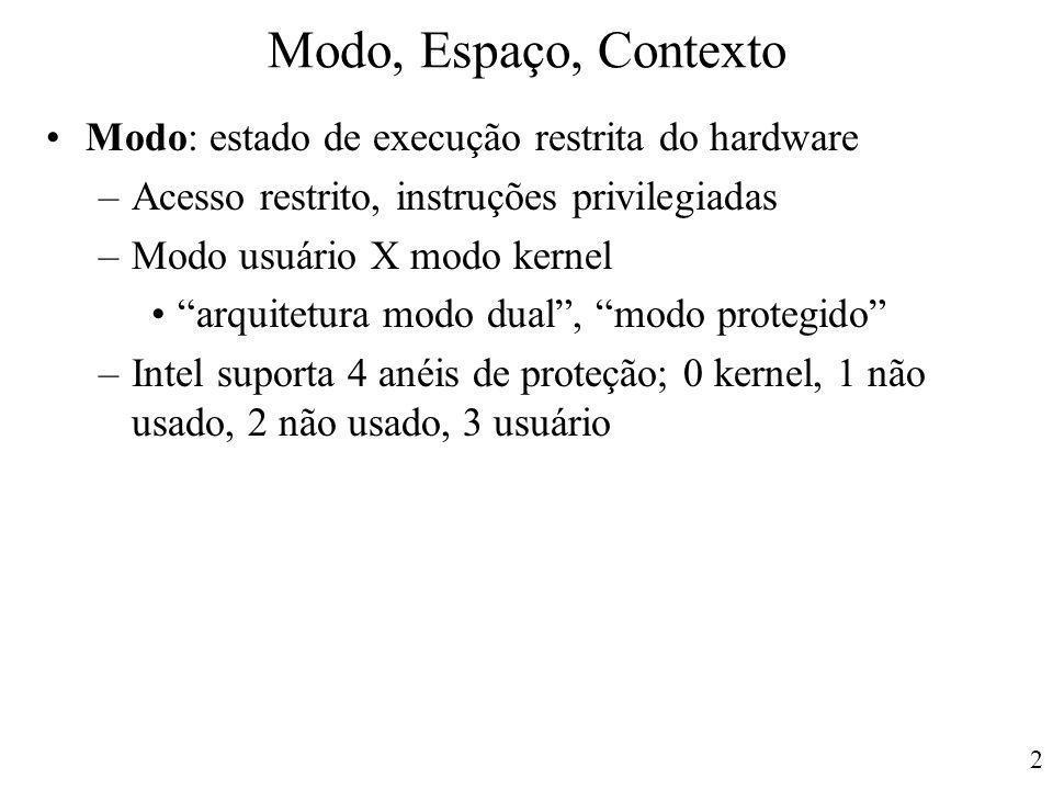 """2 Modo, Espaço, Contexto Modo: estado de execução restrita do hardware –Acesso restrito, instruções privilegiadas –Modo usuário X modo kernel """"arquite"""