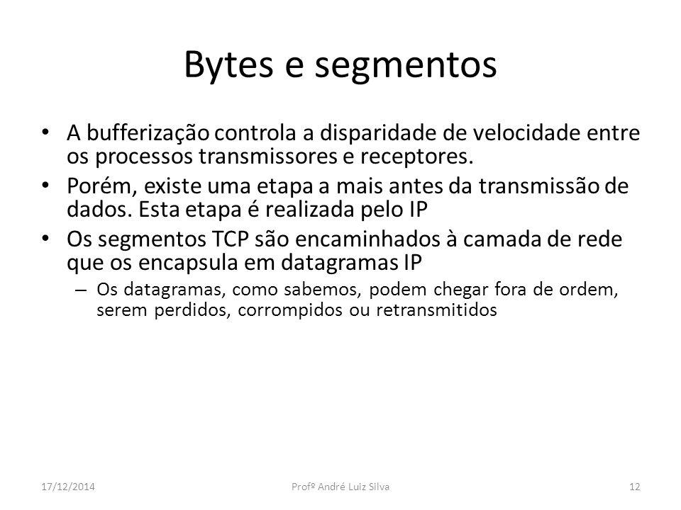 Bytes e segmentos A bufferização controla a disparidade de velocidade entre os processos transmissores e receptores. Porém, existe uma etapa a mais an