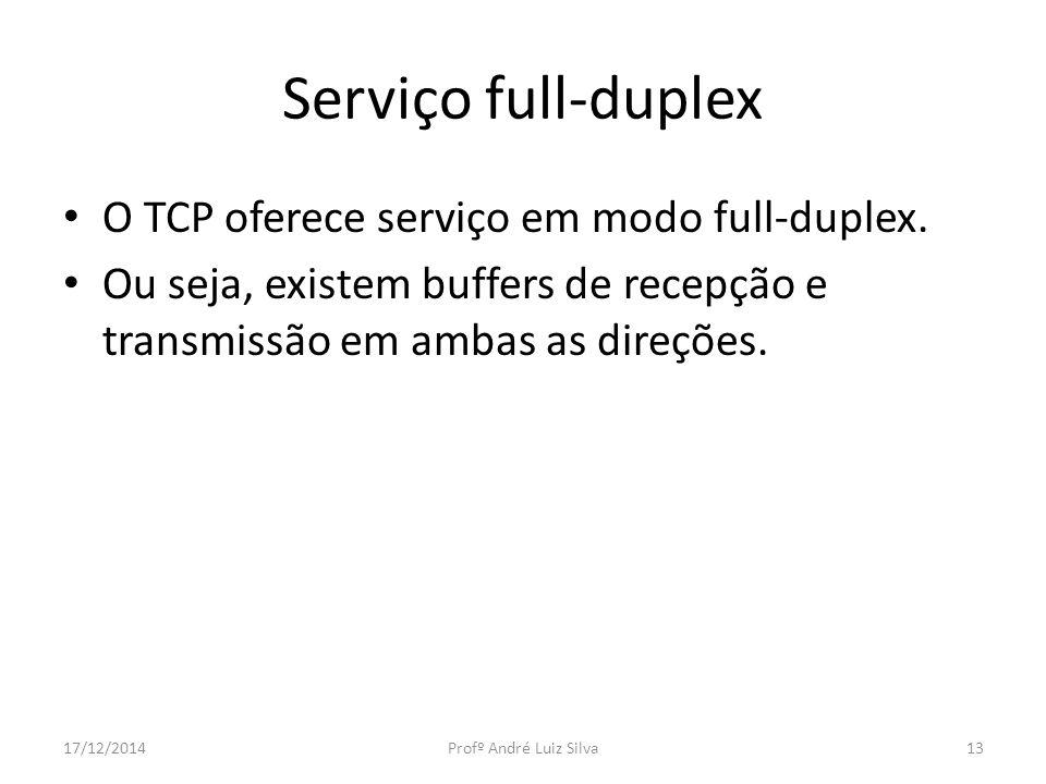 Serviço full-duplex O TCP oferece serviço em modo full-duplex. Ou seja, existem buffers de recepção e transmissão em ambas as direções. 17/12/2014Prof