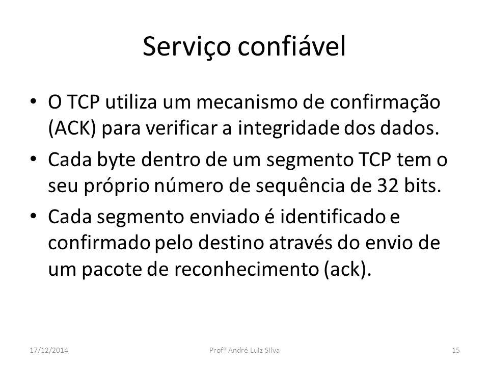 Serviço confiável O TCP utiliza um mecanismo de confirmação (ACK) para verificar a integridade dos dados. Cada byte dentro de um segmento TCP tem o se