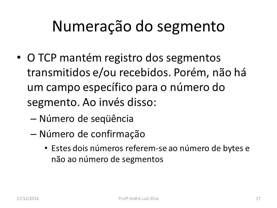 Numeração do segmento O TCP mantém registro dos segmentos transmitidos e/ou recebidos. Porém, não há um campo específico para o número do segmento. Ao