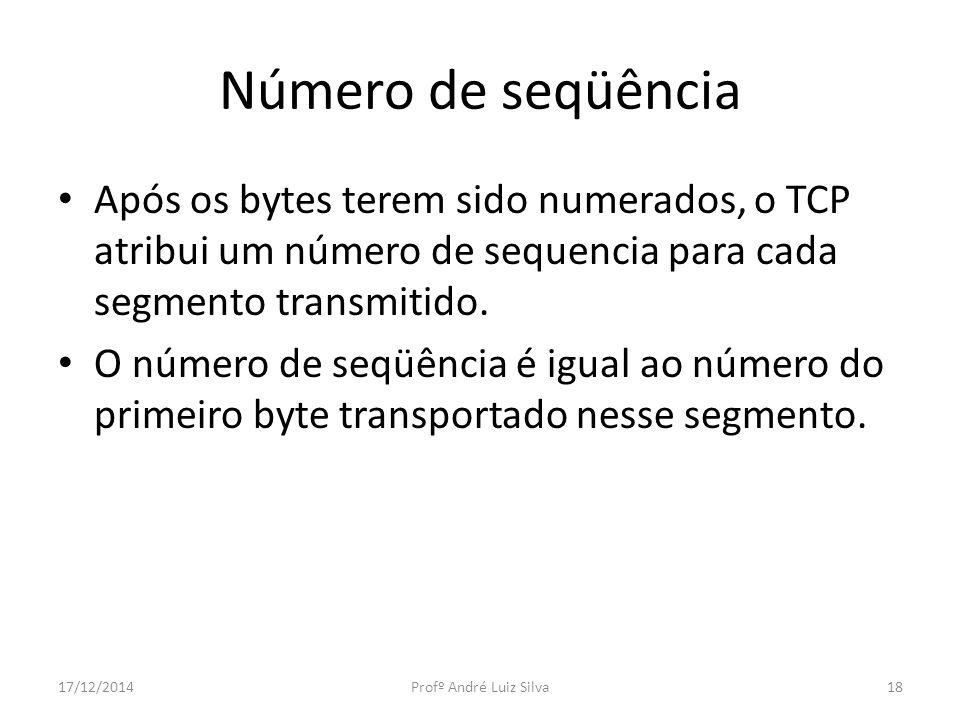 Número de seqüência Após os bytes terem sido numerados, o TCP atribui um número de sequencia para cada segmento transmitido. O número de seqüência é i