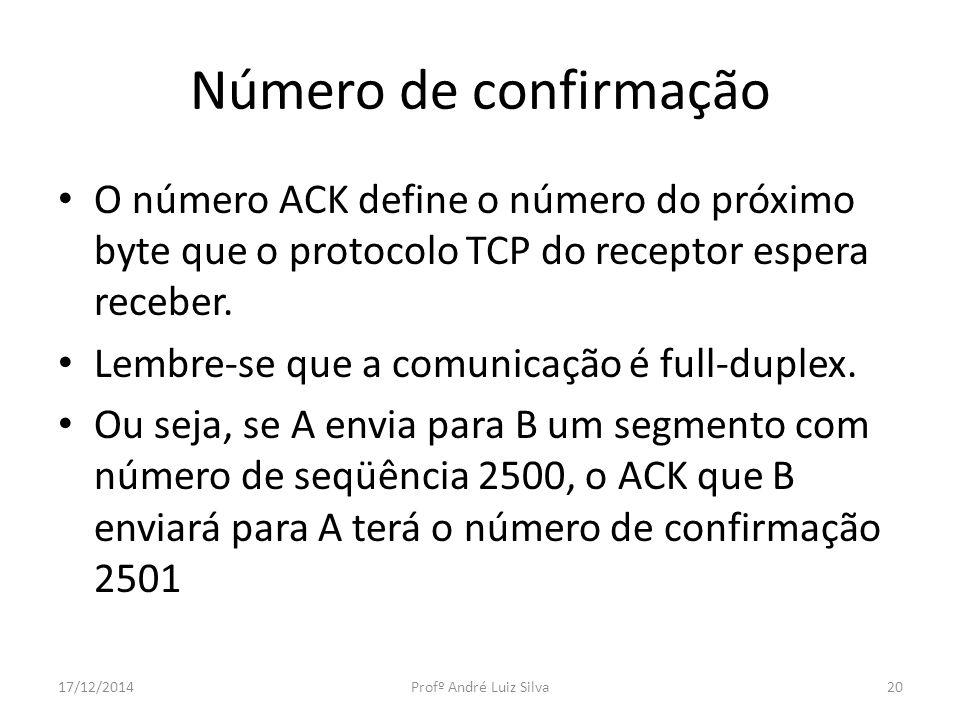 Número de confirmação O número ACK define o número do próximo byte que o protocolo TCP do receptor espera receber. Lembre-se que a comunicação é full-