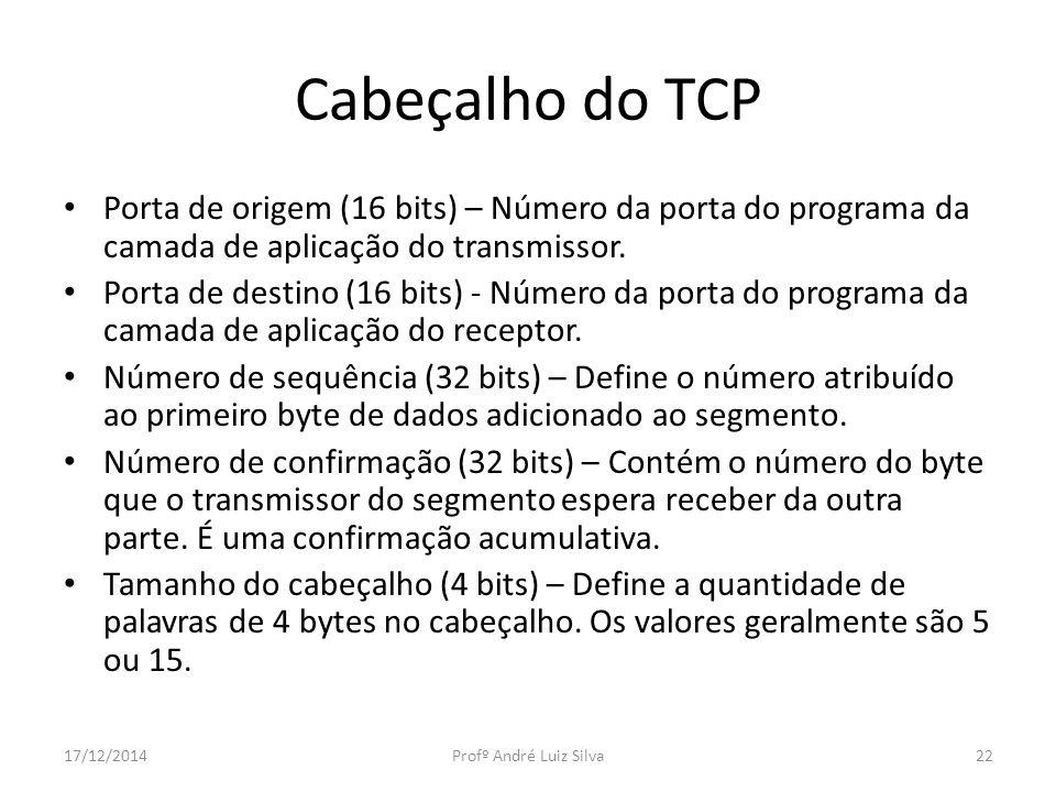 Cabeçalho do TCP Porta de origem (16 bits) – Número da porta do programa da camada de aplicação do transmissor. Porta de destino (16 bits) - Número da