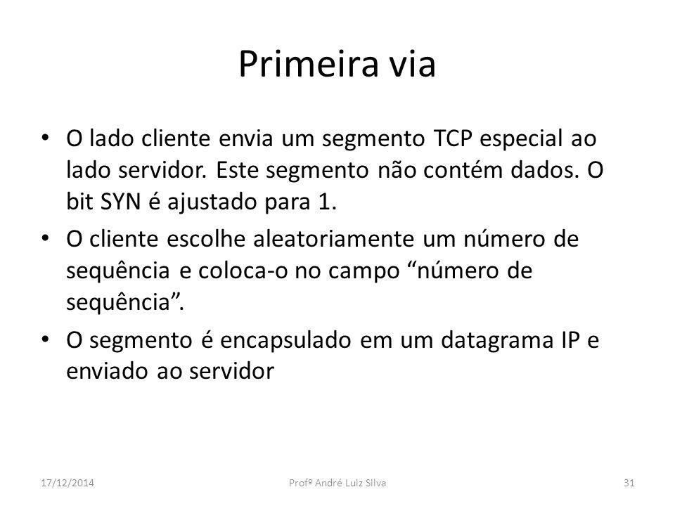 Primeira via O lado cliente envia um segmento TCP especial ao lado servidor. Este segmento não contém dados. O bit SYN é ajustado para 1. O cliente es