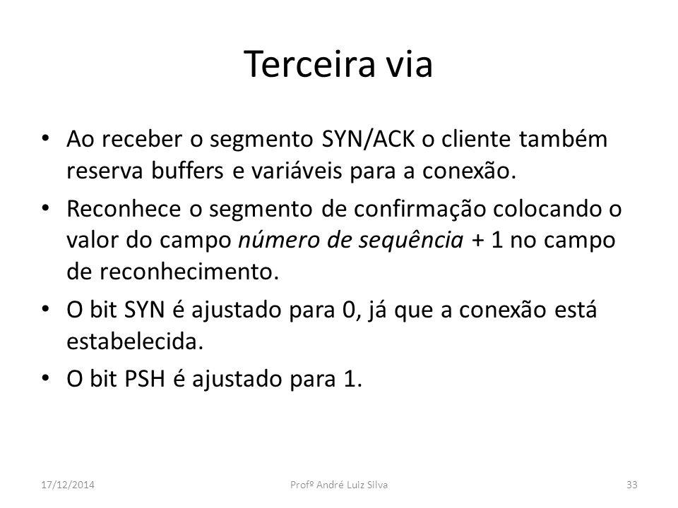 Terceira via Ao receber o segmento SYN/ACK o cliente também reserva buffers e variáveis para a conexão. Reconhece o segmento de confirmação colocando