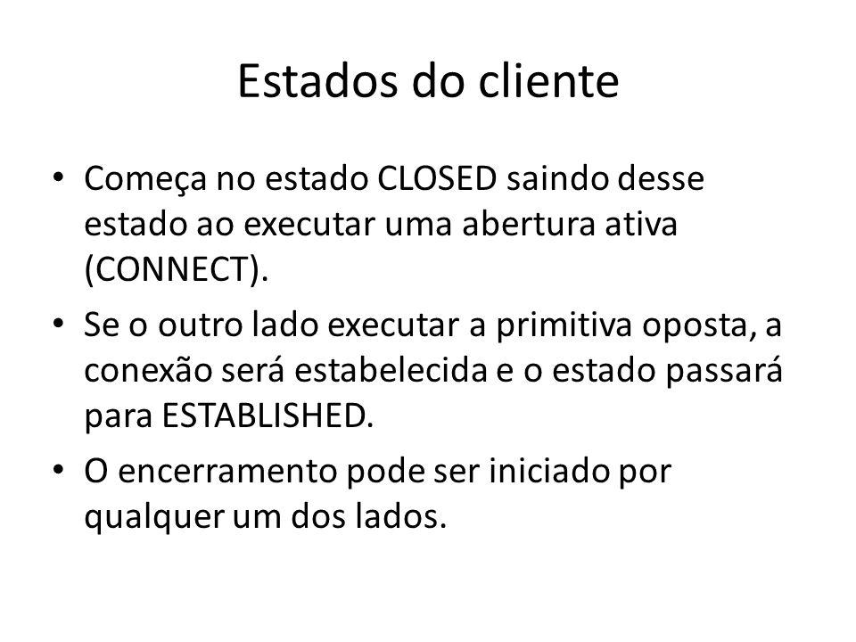 Estados do cliente Começa no estado CLOSED saindo desse estado ao executar uma abertura ativa (CONNECT). Se o outro lado executar a primitiva oposta,