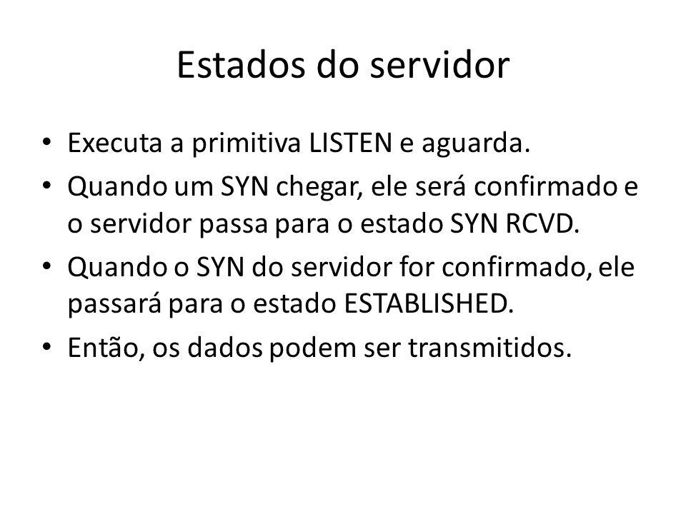 Estados do servidor Executa a primitiva LISTEN e aguarda. Quando um SYN chegar, ele será confirmado e o servidor passa para o estado SYN RCVD. Quando