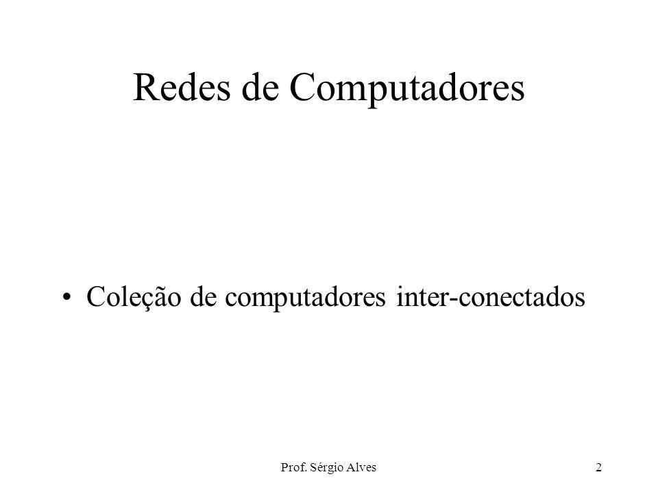 Prof. Sérgio Alves1 REDES DE COMPUTADORES Fundamentos de Redes de Computadores, Transmissão de Dados e Cabeamento PVH Agosto de 2007