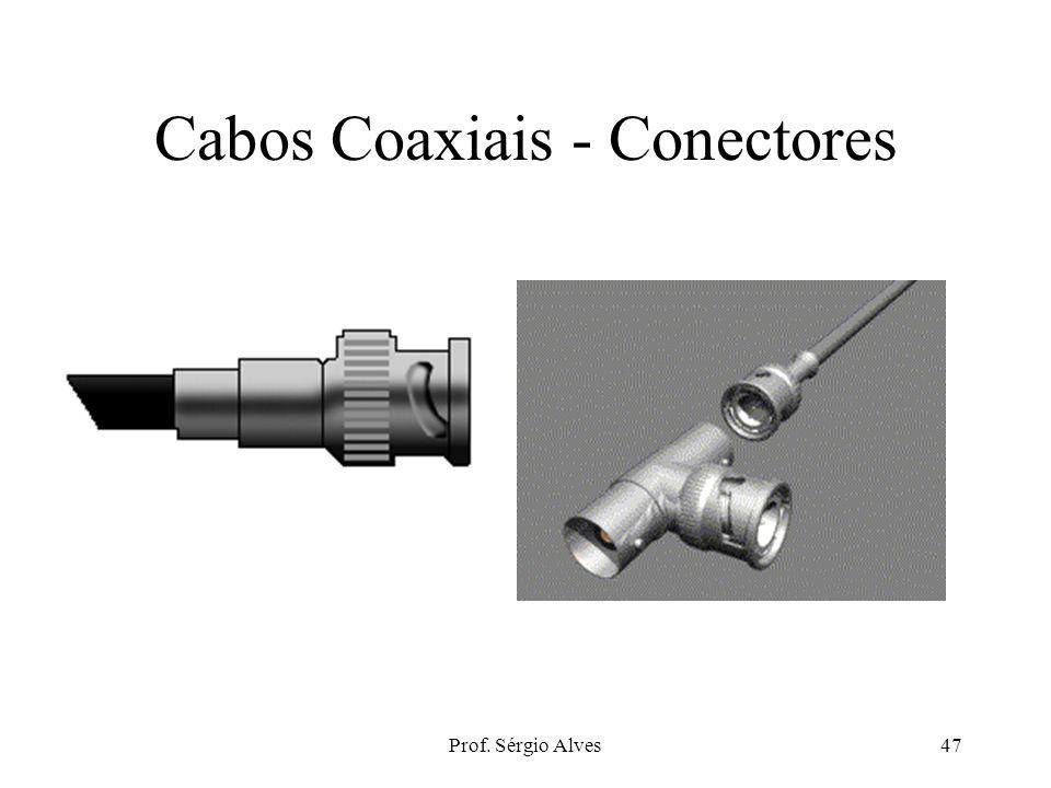 """Prof. Sérgio Alves46 Cabos Coaxiais - Tipos Thick Ethernet –10Base5, RG-11, """"trunk"""" –Conector: N-Series –Caro Thin Ethernet –10Base2, RG-58. –Conector"""