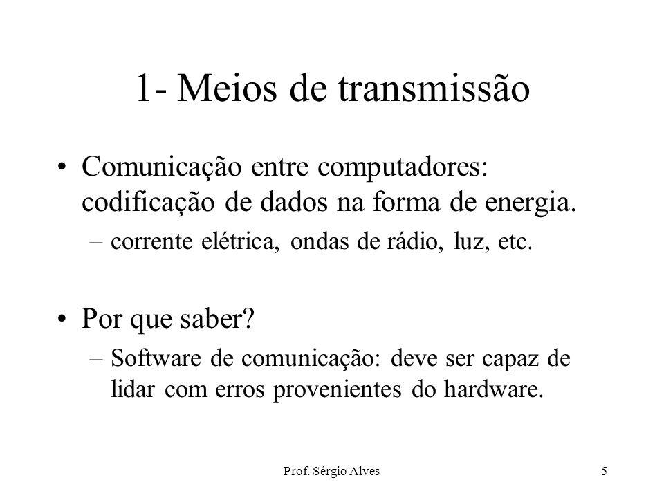 Prof. Sérgio Alves4 Elementos constituintes Hardware –meios de transmissão –interfaces –hubs, bridges, roteadores, repetidores, switches Software –SO