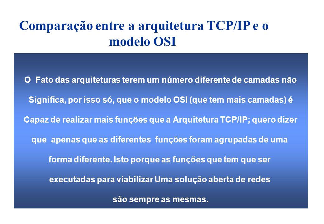 O Fato das arquiteturas terem um número diferente de camadas não Significa, por isso só, que o modelo OSI (que tem mais camadas) é Capaz de realizar mais funções que a Arquitetura TCP/IP; quero dizer que apenas que as diferentes funções foram agrupadas de uma forma diferente.