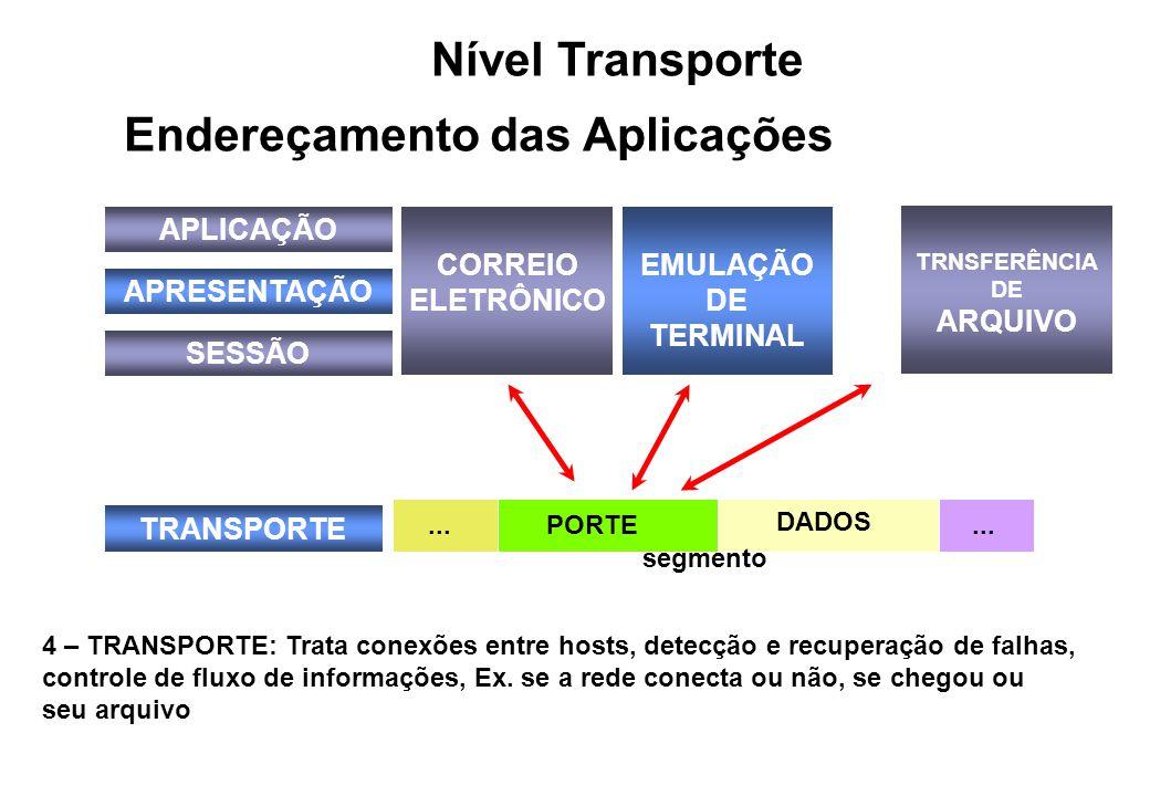 APLICAÇÃO APRESENTAÇÃO SESSÃO TRANSPORTE CORREIO ELETRÔNICO EMULAÇÃO DE TERMINAL TRNSFERÊNCIA DE ARQUIVO...PORTE...