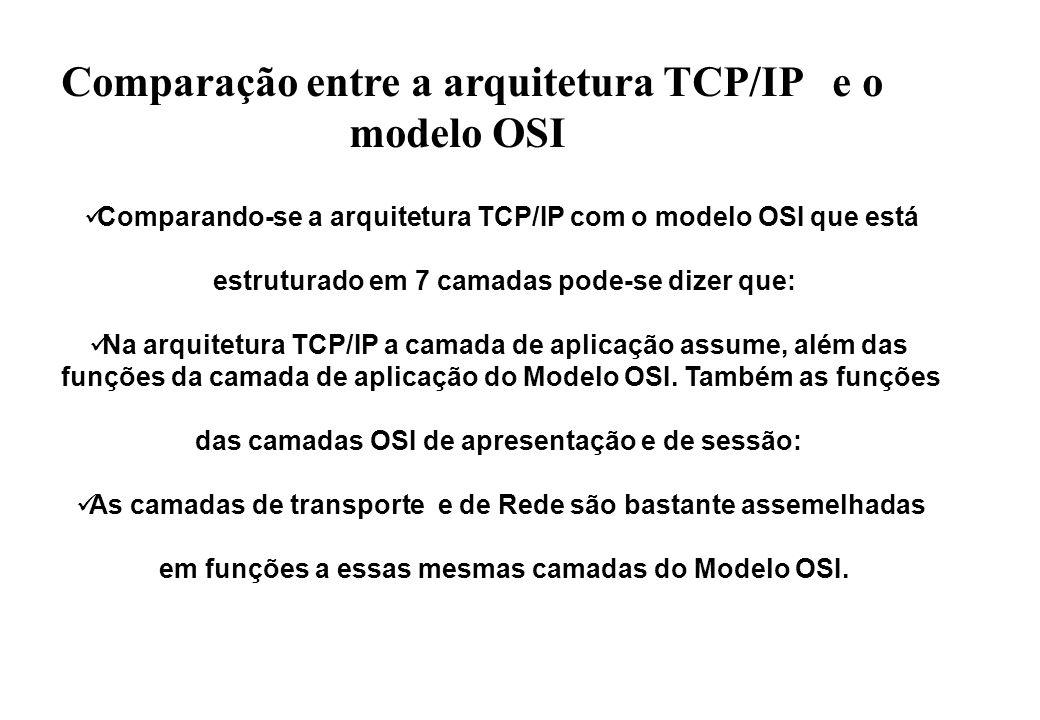 Comparando-se a arquitetura TCP/IP com o modelo OSI que está estruturado em 7 camadas pode-se dizer que: Na arquitetura TCP/IP a camada de aplicação assume, além das funções da camada de aplicação do Modelo OSI.