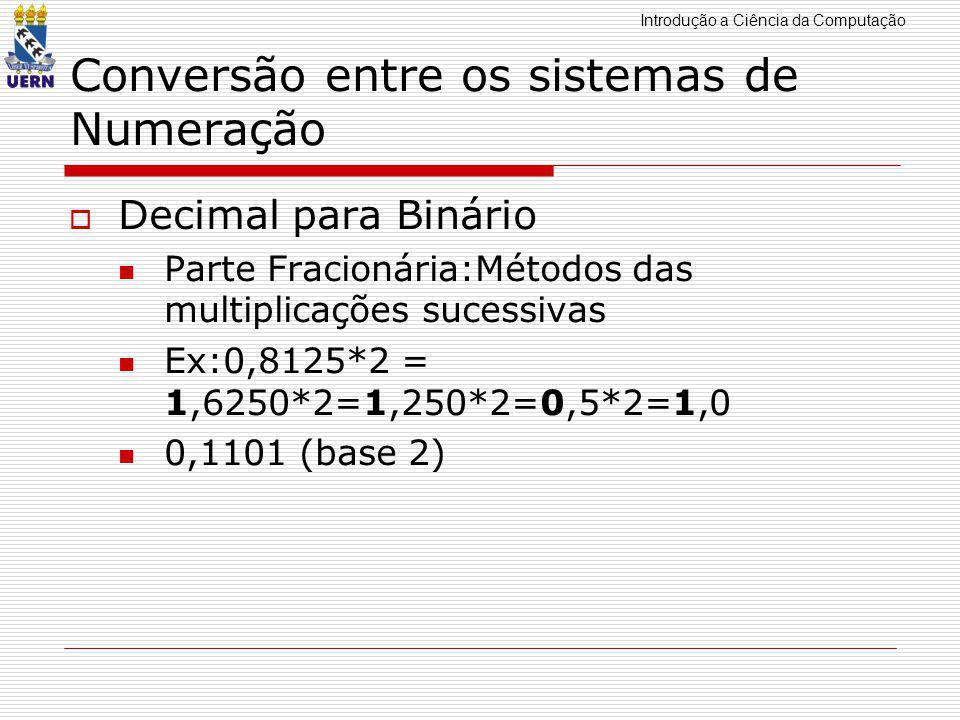 Introdução a Ciência da Computação Conversão entre os sistemas de Numeração  Decimal para Octal Parte Fracionária:Métodos das multiplicações sucessivas Ex:0,140625 = 0,140625*8 =1,125000*8=1,000 0,11 (base 2) 