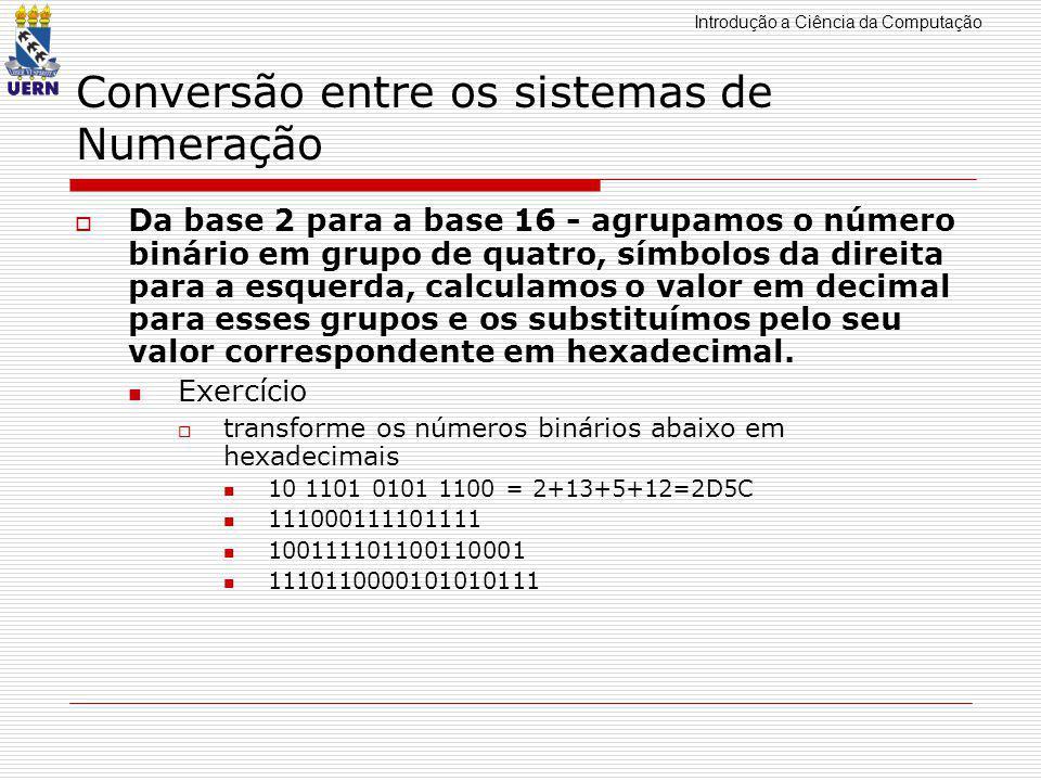 Introdução a Ciência da Computação Conversão entre os sistemas de Numeração  Da base 16 para a base 2 - substituímos cada símbolo hexadecimal por quatro (sempre quatro) símbolos binários correspondentes.