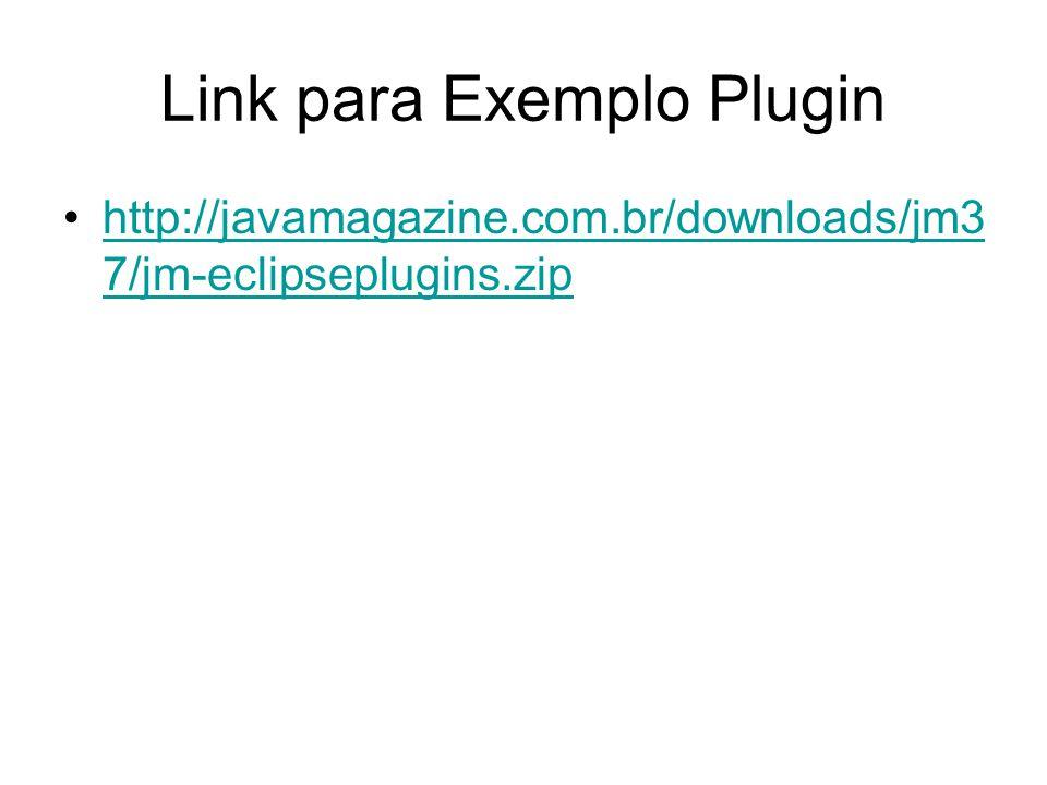 Exemplo completo File->New->project Escolha:Plug-In development