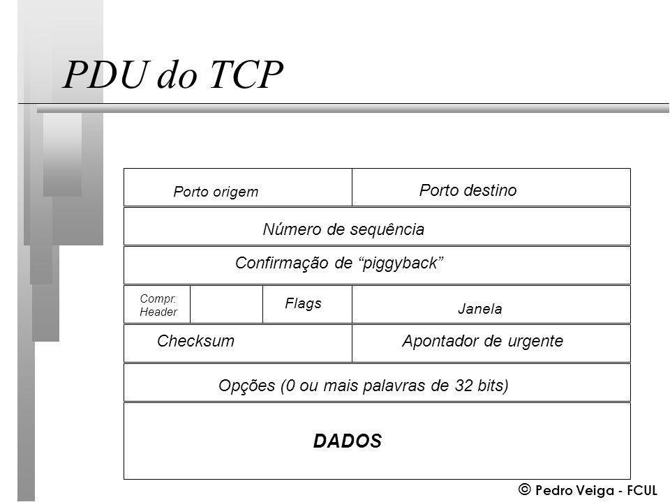 © Pedro Veiga - FCUL PDU do TCP Porto origem Porto destino Número de sequência Confirmação de piggyback Opções (0 ou mais palavras de 32 bits) ChecksumApontador de urgente DADOS Compr.