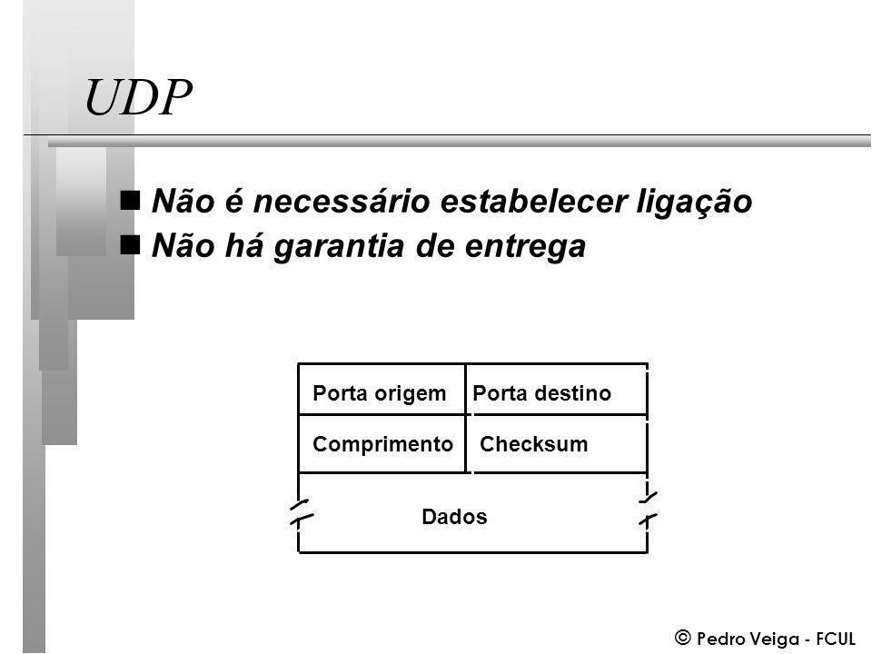 © Pedro Veiga - FCUL UDP nNão é necessário estabelecer ligação nNão há garantia de entrega Porta origemPorta destino ComprimentoChecksum Dados